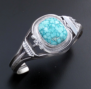 Roie Jaque (Navajo) - Rounded Square Baby Aqua Turquoise & Sterling Silver Split Wire Cuff Bracelet #44335 $810.00