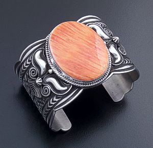 Andy Cadman (Navajo) - Wide Orange Shell & Sterling Silver Stamped Scalloped Edge Cuff Bracelet #44392 $900.00