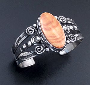Derrick Gordon (Navajo) - Oval Orange Shell & Ornate Sterling Silver Stamped Split Wire Cuff Bracelet #44396 $450.00