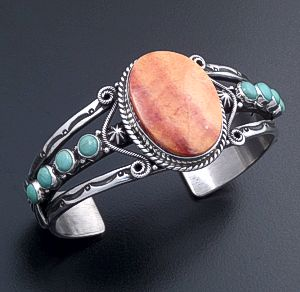 Derrick Gordon (Navajo) - Orange Shell & Turquoise Ornate Sterling Silver Stamped Split Wire Cuff Bracelet #44413 $600.00