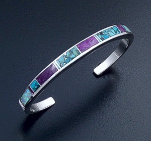 Supersmith Inc. - David Rosales Designs (Navajo) - Shalako Inlay & Sterling Silver Narrow Lined Cuff Bracelet #6265 Style BR321 $340.00