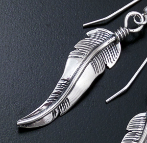 Anne Pabcito Valencia (Navajo) - Intricate Curved Sterling Silver Feather Dangle Earrings #10386 $50.00