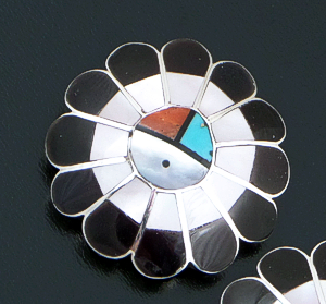 Zuni - Multistone Inlay & Sterling Silver Domed Sunface Earrings #10986 $100.00