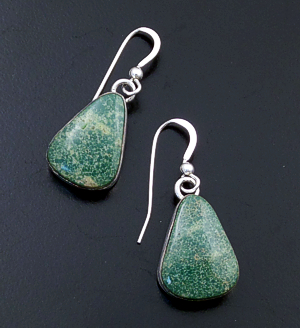 Evangie Willie (Navajo) - Teardrop Green Turquoise & Sterling Silver Dangle Earrings #14432 90.00