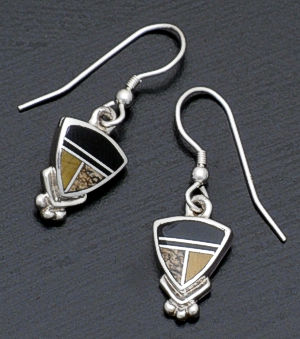 Supersmith Inc. - David Rosales Designs - Native Earth Small Inlay & Sterling Silver Shield Earrings #158 Style ER043 $130.00