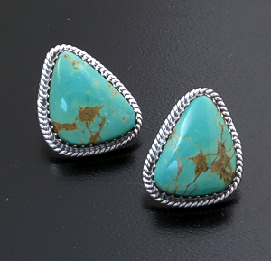 Judy Largo (Navajo) - Triangular Turquoise & Sterling Silver Earrings #15994B $80.00