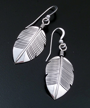 Joe Mace (Navajo) - Lined Sterling Silver Feather Dangle Earrings #16131 $60.00