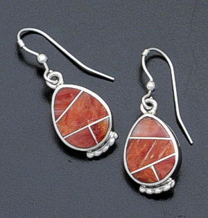 Supersmith Inc. - David Rosales Designs - Desert Fire Inlay & Sterling Silver Beaded Teardrop Earrings #16435 Style ER016 $185.00
