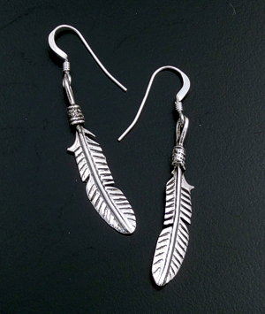 Navajo - Small Stamped Sterling Silver Feather Dangle Earrings #16587 $30.00