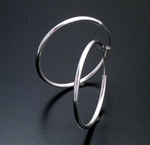 Hinged Sterling Silver Continuous Hoop Earrings #16932 $25.00
