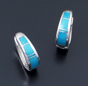 Supersmith Inc. - David Rosales Designs - Arizona Blue Narrow Inlay & Sterling Silver Huggie Hoop Earrings #17256 Style ER306 $220.00
