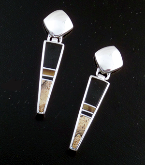 Supersmith Inc. - David Rosales Designs - Native Earth Tapered Inlay Sterling Silver Earrings #17328 Style ER019 $180.000