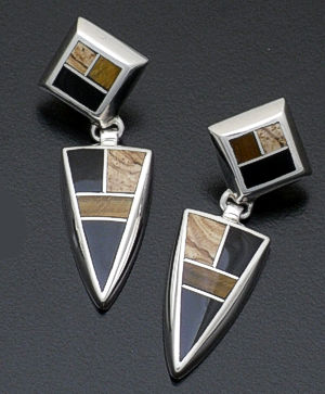 Supersmith Inc. - David Rosales Designs - Native Earth Angular Inlay & Sterling Silver Dangle Earrings #17336 Style ER046 $225.00