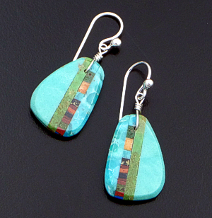 Santo Domingo - Turquoise & Multistone Inlay Slab Dangle Earrings #17566 $75.00