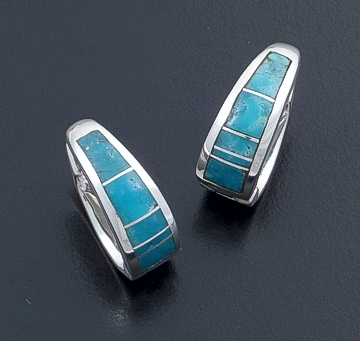Supersmith Inc. - David Rosales Designs - Arizona Blue Inlay & Sterling Silver Huggie Hoop Earrings #18375 Style ER307 $240.00