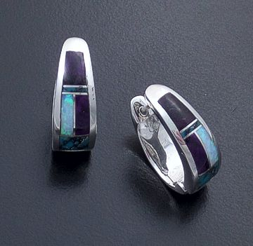 Supersmith Inc. - David Rosales Designs - Shalako Inlay & Sterling Silver Huggie Hoop Earrings #18853 Style ER307 $240.00