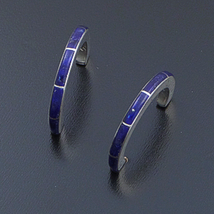 Zuni - Lapis Lazuli & Sterling Silver Channel Inlay Half Hoop Earrings #2062 $120.00