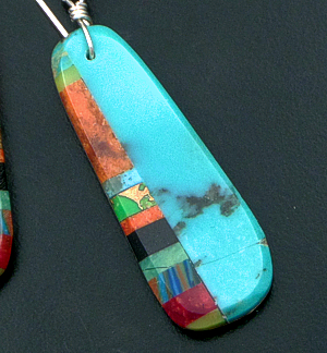Santo Domingo - Turquoise & Multistone Inlay Oval Dangle Earrings #21431 $95.00