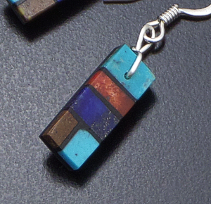 Julian R. Coriz (Santo Domingo) - Small Rectangular Multistone Inlay Dangle Earrings #22191A $45.00