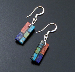 Julian R. Coriz (Santo Domingo) - Small Rectangular Multistone Inlay Dangle Earrings #22191B $45.00