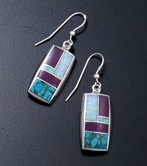 Supersmith Inc. - David Rosales Designs - Shalako Inlay & Sterling Silver Rectangular Tab Dangle Earrings #24779 Style ER022 $350.00