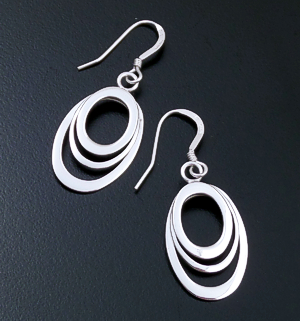 Triple Oval High Polish Sterling Silver Dangle Earrings #28822 $35.00