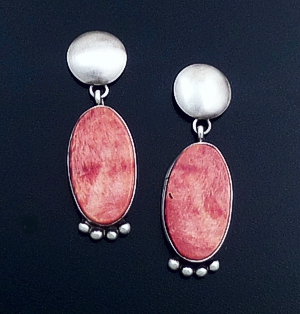 Navajo - Teardrop Orange Spiny Oyster Shell & Satin Finished Sterling Silver Post Dangle Earrings #29292 $90.00