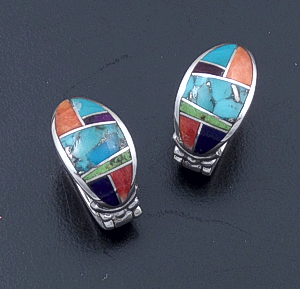 Supersmith Inc. - David Rosales Designs - Indian Summer Oval Inlay & Sterling Silver Huggie Hoop Earrings #29325 Style ER331 $290.00