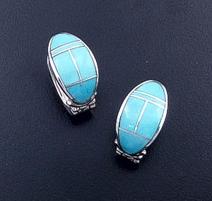Supersmith Inc. - David Rosales Designs - Arizona Blue Oval Inlay & Sterling Silver Huggie Hoop Earrings #29396 Style ER331 $260.00
