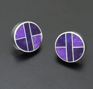 Supersmith Inc. - David Rosales Designs - Plum Crazy Round Sterling Silver Inlay Earrings #29687 Style ER509 $165.00