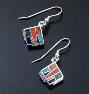 Supersmith Inc. - David Rosales Designs - Indian Summer Inlay & Sterling Silver Square Dangle Earrings #29688 Style ER8000 $165.00