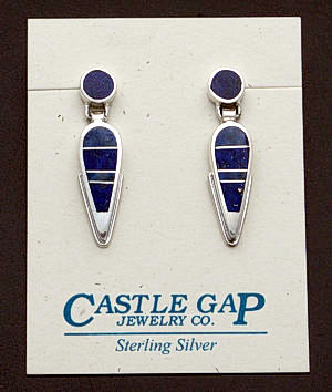 Supersmith Inc. - David Rosales Designs - Blue Water Inlay & Sterling Silver Post Dangle Earrings #29709 Style ER8004 $200.00