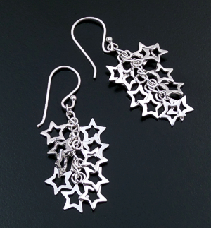 Open Star Sterling Silver Waterfall Dangle Earrings #31403 $45.00