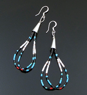 Esqupula Tenoria (Santo Domingo) - Multistone Heishi & Sterling Silver Double Loop Dangle Earrings #31507A $40.00