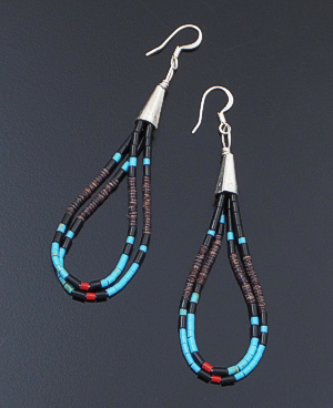 Esqupula Tenoria (Santo Domingo) - Multistone Heishi & Sterling Silver Double Loop Dangle Earrings #31507B $40.00