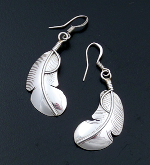 Chester Charley (Navajo) - Curved Intricate Sterling Silver Feather Dangle Earrings #31518 $50.00