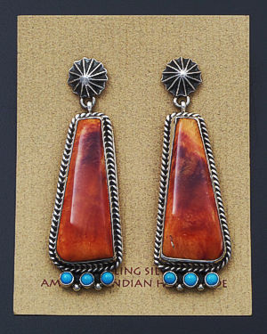 Happy Piasso (Navajo) - Turquoise Accented Orange Shell & Sterling Silver Post Dangle Earrings #32989 $270.00