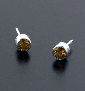 acleoni - Small Faceted Round Citrine & Sterling Silver Stud Earrings #33015 $30.00