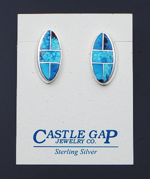Supersmith Inc. - David Rosales Designs - Kingman Turquoise Inlay & Sterling Silver Offset Oval Earrings #33039 Style ER306 $295.00