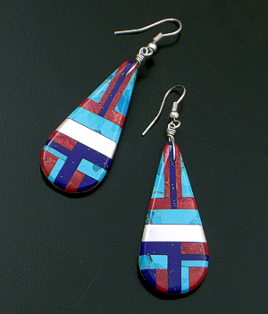 Daniel Coriz (Santo Domingo) - Large Teardrop Multistone Inlay Dangle Earrings #34135 $155.00