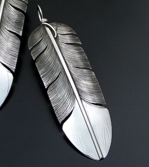 Lena Platero (Navajo) - Extra Large Intricate Sterling Silver Feather Dangle Earrings #34515 $225.00