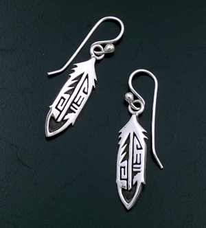 El Tom (Navajo) - Intricate Hopi Style Overlay Sterling Silver Feather Dangle Earrings #35249 $60.00