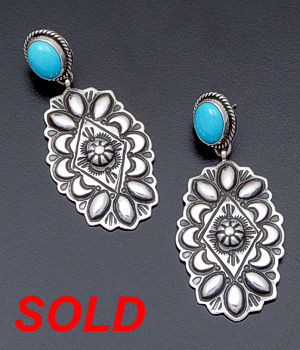 Darryl Becenti - Turquoise Accented Stamped & Repoussé Sterling Silver Earrings #35337 $195.00