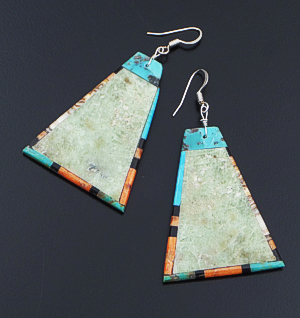 Santo Domingo - Large Triangular Turquoise Slab & Multistone Inlay Edged Dangle Earrings #35498 $90.00