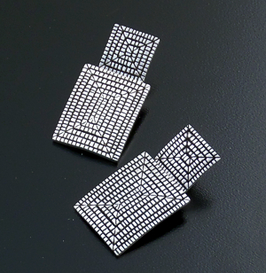 Elgin Tom (Navajo) - Square & Rectangle Sterling Silver Textured Maze Post Dangle Earrings #35546 $140.00