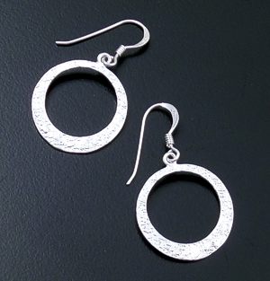 Open Circle Textured Sterling Silver Dangle Earrings #35978 $30.00
