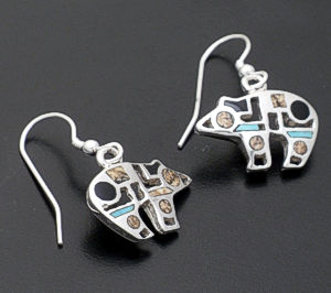 Supersmith Inc. - David Rosales Designs - Turquoise Creek Code Talker Sterling Silver Bear Earrings #36105 Style ER137 $190.00