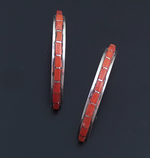 Zuni - Slender Coral & Sterling Silver Channel Inlay Half Hoop Earrings #36375 $90.00