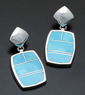 Supersmith Inc. - David Rosales Designs - Arizona Blue Rectangular Inlay & Sterling Silver Post Dangle Earrings #37017 Style ER415 $255.00