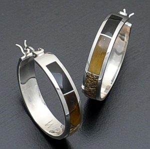 Supersmith Inc. - David Rosales Designs - Native Earth Full Inlay Sterling Silver Hoop Earrings #37022 Style ER313 $270.00